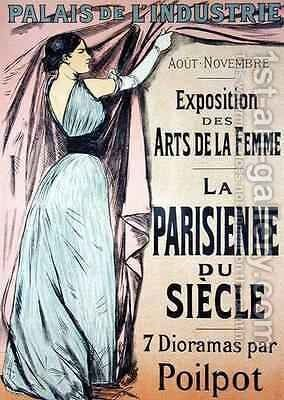 Reproduction of a poster advertising La Parisienne du Siecle an exhibit of seven dioramas by Poilpot at the Exposition des Arts de la Femme Palais de lIndustrie Paris by Jean-Louis Forain - Reproduction Oil Painting