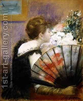 Woman with a fan by Jean-Louis Forain - Reproduction Oil Painting