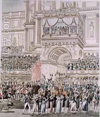 The Emperor and the Empress Receiving the Homage of the French Troops from the Balcony of the Tuileries on the Occasion of their Marriage by (after) Fontaine, Pierre Francois Leonard - Reproduction Oil Painting