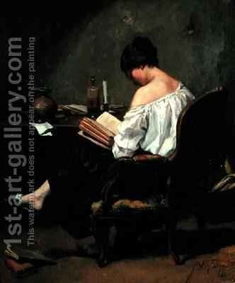 Girl Reading by Candlelight by Andre Fontaine - Reproduction Oil Painting