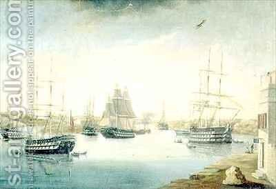 View from the Mahon Door from the Fonduco with Various Foreign Frigates by Joan Font - Reproduction Oil Painting