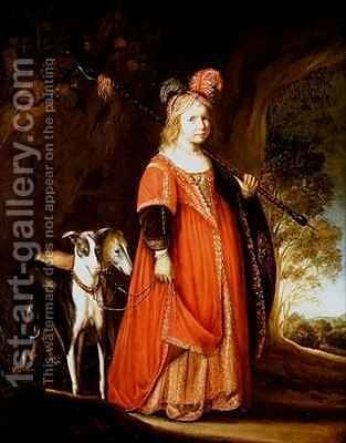 Portrait of a young girl as Diana in a glade with two greyhounds by Govert Teunisz. Flinck - Reproduction Oil Painting