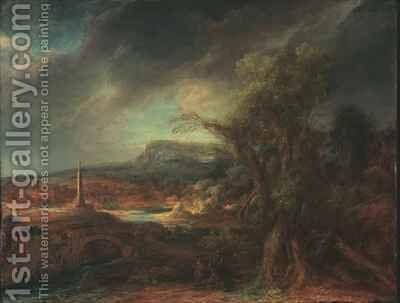 Landscape with Obelisk by Govert Teunisz. Flinck - Reproduction Oil Painting