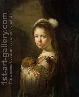 A Little Girl with a Puppy in her Arms by Govert Teunisz. Flinck - Reproduction Oil Painting