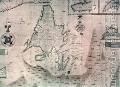 Map of the Newfoundland by Augustine Fitzhugh - Reproduction Oil Painting