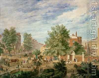 Marylebone Road at the Junction with Lisson Grove Showing the Philological School in Summer by T. Paul Fisher - Reproduction Oil Painting
