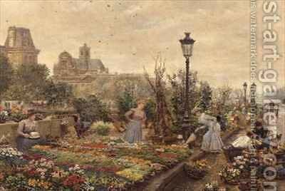 The Flower Market by Marie Francois Firmin-Girard - Reproduction Oil Painting