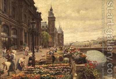 The Parisian Flower Market by Marie Francois Firmin-Girard - Reproduction Oil Painting