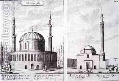 View of a Mosque in Bursa and a Mosque in Hungary by (after) Fischer von Erlach, Johann Bernhard - Reproduction Oil Painting