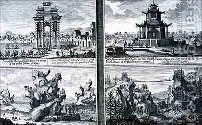 Four Views showing a Chinese Triumphal Arch a Pagoda at Sinkicien in the Province of Xantum Artificial Mountains and Caves and a Chain Bridge near the town of Kingtung China by (after) Fischer von Erlach, Johann Bernhard - Reproduction Oil Painting