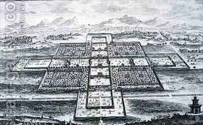 Perspective View of the Imperial Palace Peking China by (after) Fischer von Erlach, Johann Bernhard - Reproduction Oil Painting