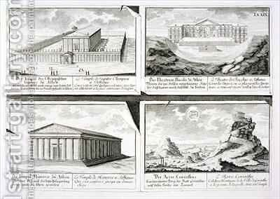 Views of four Classical Buildings The Temple of Olympian Zeus the Theatre of Dionysus in Athens the Temple of Athena in Athens and a Temple in Corinth by (after) Fischer von Erlach, Johann Bernhard - Reproduction Oil Painting
