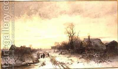 Children playing in a winter landscape by August Fink - Reproduction Oil Painting