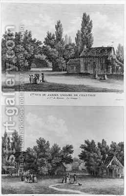 Two views of the English landscaped garden with the hamlet at Chantilly by (after) Filleuil - Reproduction Oil Painting