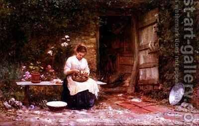 Peeling Potatoes by Sir Samuel Luke Fildes - Reproduction Oil Painting