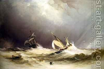 Shipping off Portsmouth by Anthony Vandyke Copley Fielding - Reproduction Oil Painting