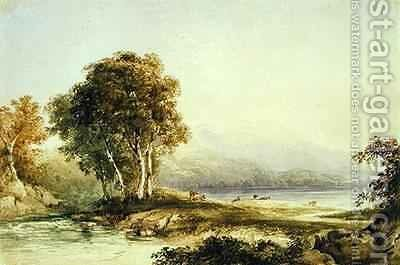 Mountainous Landscape with Lake and Stream by Anthony Vandyke Copley Fielding - Reproduction Oil Painting