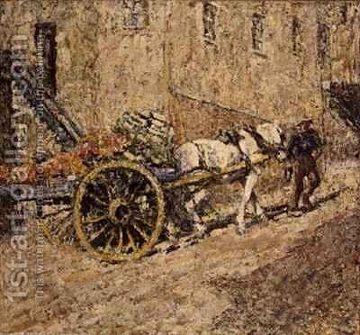 The Fruit Cart by Harry Fidler - Reproduction Oil Painting
