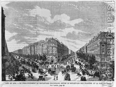 Paris in 1878 Boulevard Haussmann extended between Boulevard des Italiens and rue Taitbout by (after) Fichot, Michel Charles - Reproduction Oil Painting