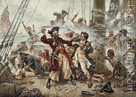 The Capture of the Pirate Blackbeard by Jean-Leon Gerome Ferris - Reproduction Oil Painting