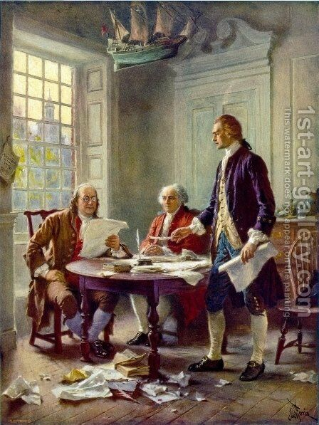 Writing the Declaration of Independence in 1776 by Jean-Leon Gerome Ferris - Reproduction Oil Painting