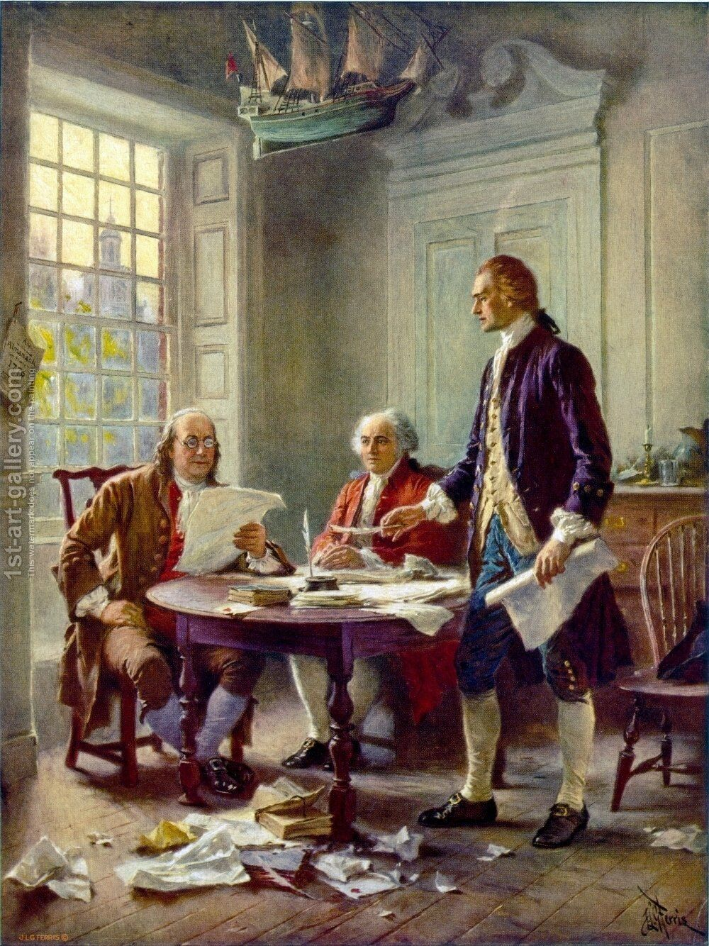 Writing the Declaration of Independence in 1776 Painting by Jean-Leon  Gerome... | 1st Art Gallery
