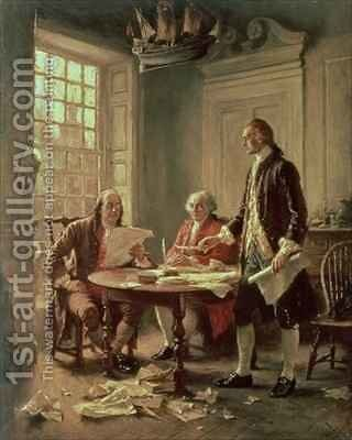 The Drafting of the Declaration of Independence in 1776 by Jean-Leon Gerome Ferris - Reproduction Oil Painting