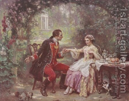The Courtship of Washington by Jean-Leon Gerome Ferris - Reproduction Oil Painting