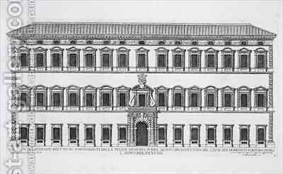 View of the facade of the Lateran Palace Rome by (after) Ferrerio, Pietro - Reproduction Oil Painting