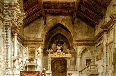 Set design for an opera by Carlo Ferrario - Reproduction Oil Painting