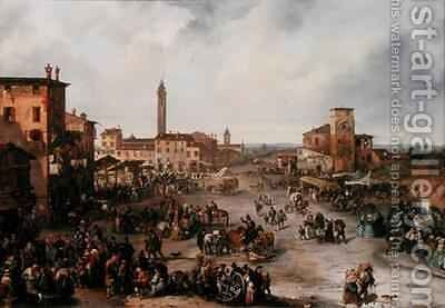 View of a Market Town and possibly the Fair of St Allessandro by Carlo Ferrari - Reproduction Oil Painting