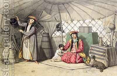 Kalmuk Women in their tent by (after) Ferogio, Francois Fortune Antoine - Reproduction Oil Painting