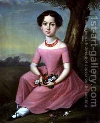 Portrait of a Young Girl by Anton Ferenz - Reproduction Oil Painting