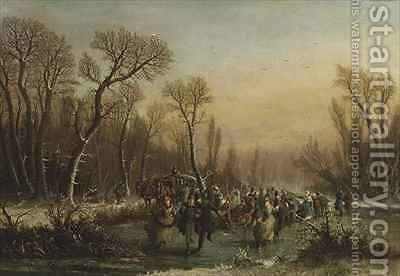Skating in the Forest by Edmond Fercy Duchesne - Reproduction Oil Painting