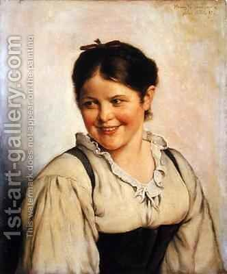 A Country Girl by Hans Fechner - Reproduction Oil Painting