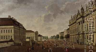 View of the armory and Unter den Linden Street by Carl Traugott Fechhelm - Reproduction Oil Painting