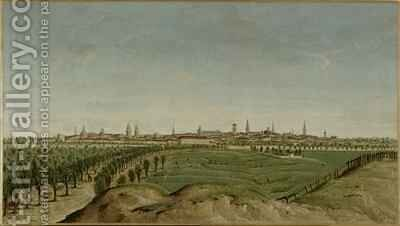 View of Berlin from Tempelhof by Carl Traugott Fechhelm - Reproduction Oil Painting