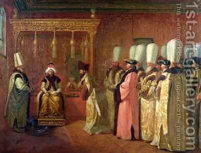 Audience of Charles Gravier 1717-87 Comte de Vergennes with the Sultan Osman III 1699-1757 in Constantinople by Antoine de Favray - Reproduction Oil Painting
