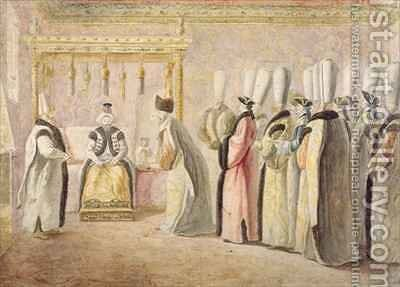 Farewell Audience of French Ambassador Charles Gravier 1717-87 Comte de Vergennes with the Sultan Mustafa III 1717-74 in Constantinople by Antoine de Favray - Reproduction Oil Painting