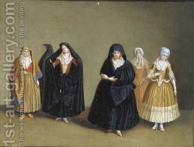 Ladies of the Knights of Malta with their Maid Servant by Antoine de Favray - Reproduction Oil Painting