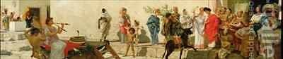 A Roman Street Scene with Musicians and a Performing Monkey 2 by Modesto Faustini - Reproduction Oil Painting