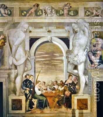 The Game of Cards by Giovanni Antonio Fasolo - Reproduction Oil Painting