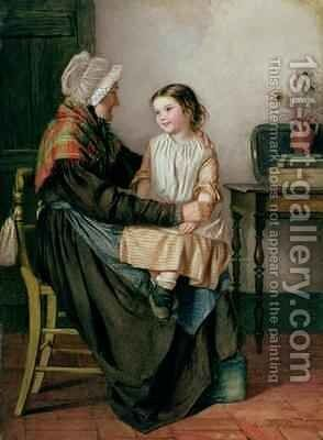 Old Woman with Girl on her Knee by Emily Farmer - Reproduction Oil Painting