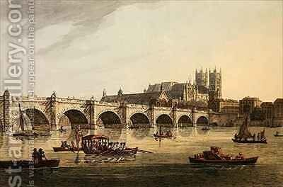 View of Westminster Bridge Abbey and Hall by (after) Farington, Joseph - Reproduction Oil Painting