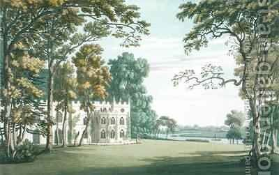 The House gardens and lake at Strawberry Hill by (after) Farington, Joseph - Reproduction Oil Painting