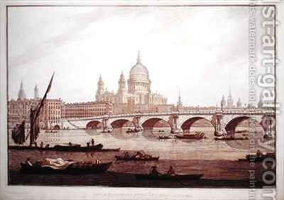 View of Blackfriars Bridge and StPauls Cathedral by (after) Farington, Joseph - Reproduction Oil Painting