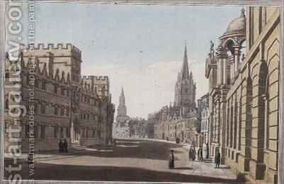 View of the High Street in Oxford by (after) Farington, Joseph - Reproduction Oil Painting