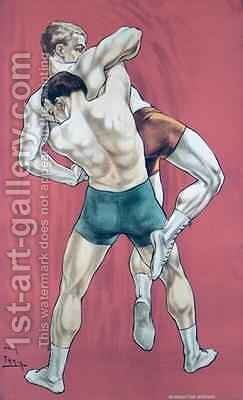 Wrestling by Candido Aragonez de Faria - Reproduction Oil Painting