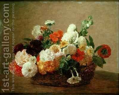 Still life with Flowers by Theodore Fantin-Latour - Reproduction Oil Painting