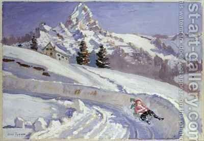 Tobogganing near the Matterhorn by Alice Taite Fanner - Reproduction Oil Painting